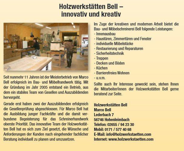 Holzwerkstätten Bell – Innovativ und Kreativ